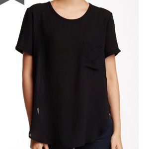 LUSH Women's Black Short Sleeve Woven Blouse
